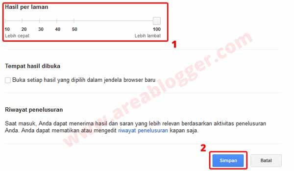 Atur agar Google menampilkan 100 result