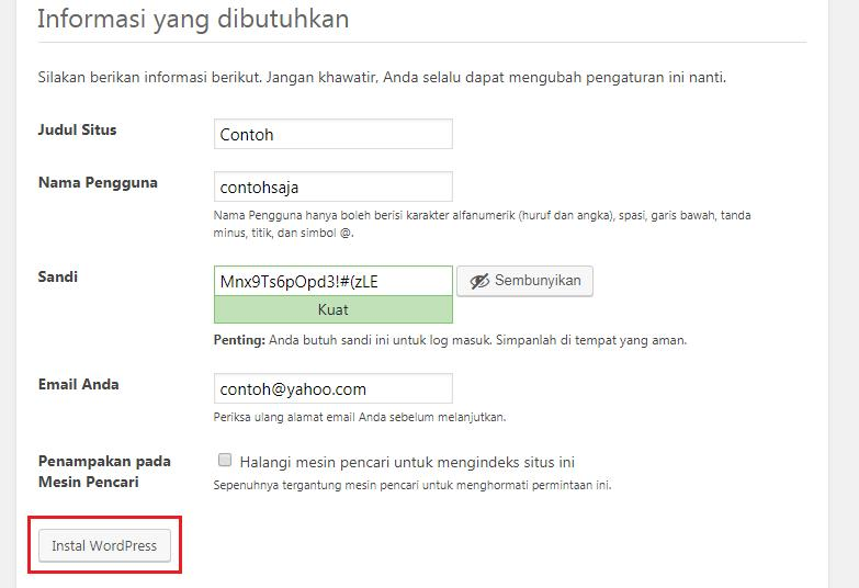 Mengisi data wordpress