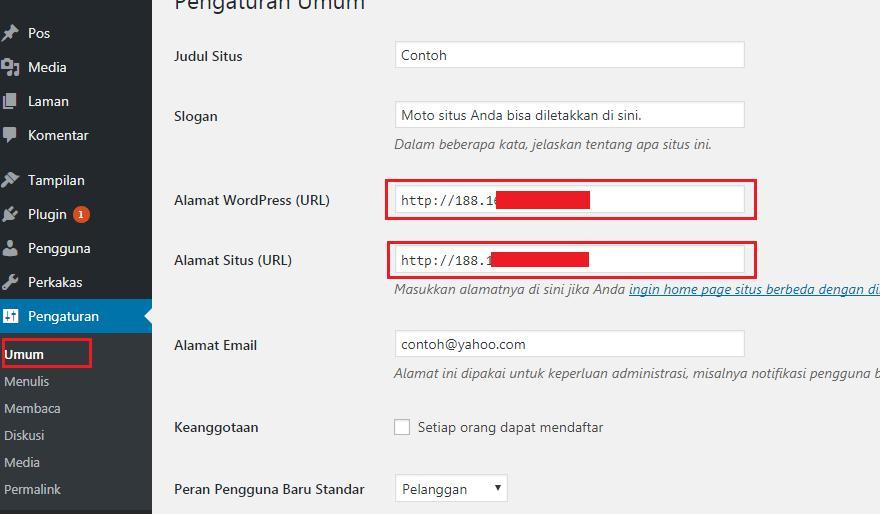 Ubah nama domain